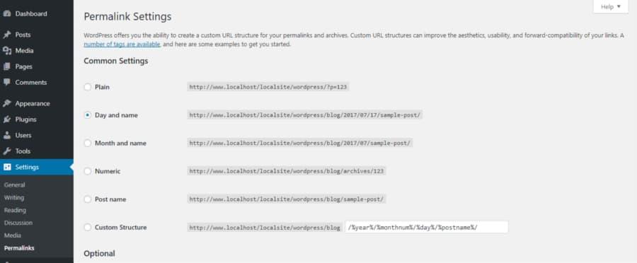 WordPress backend permalink settings and options